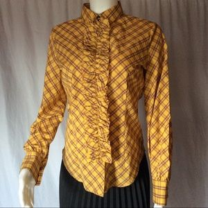 New York & co. Yellow plaid ruffled front Blouse